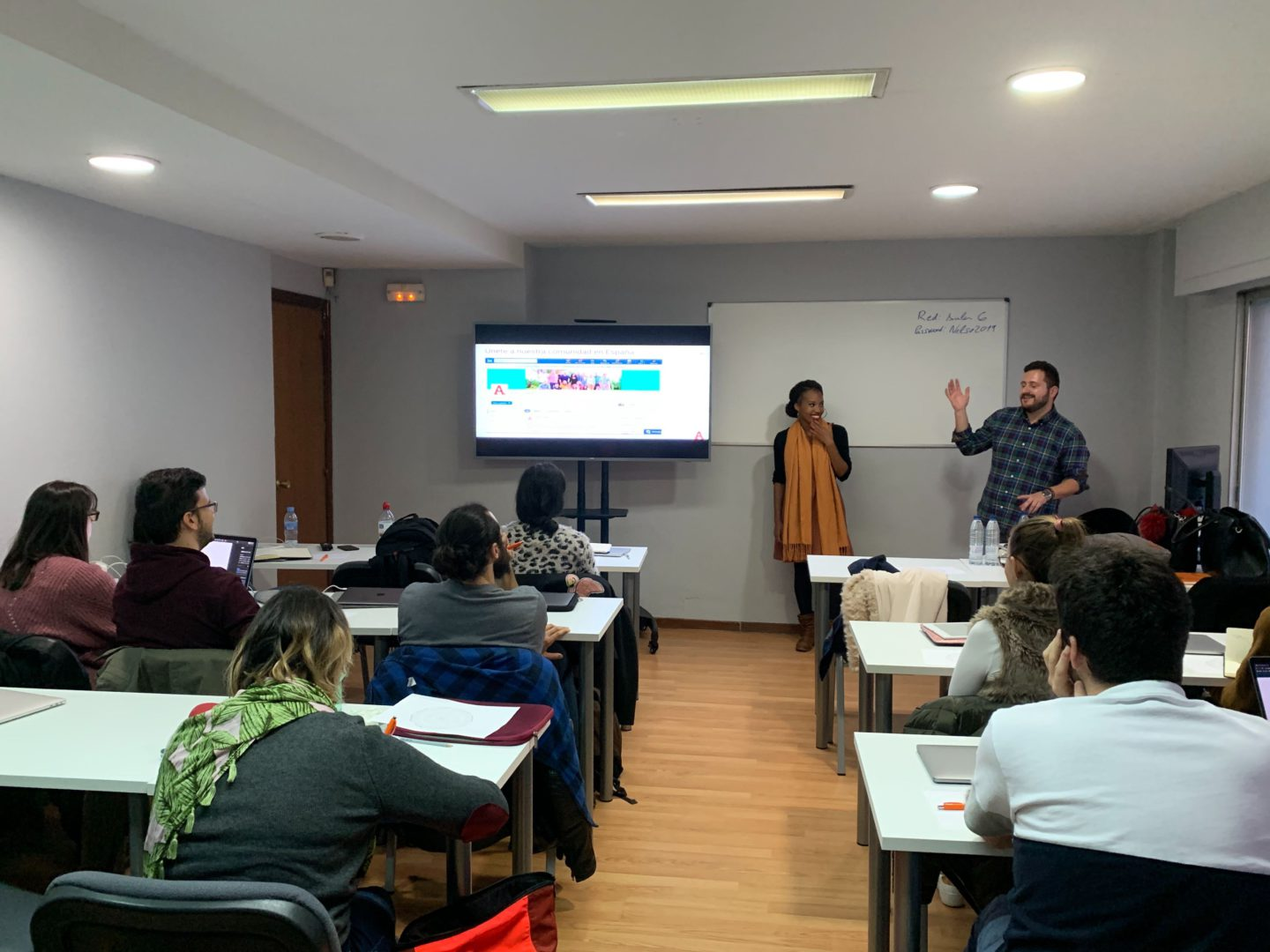 Ariad recruiters Javier and Francine training students